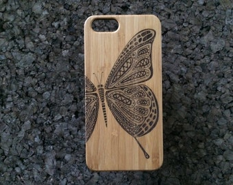 Butterfly iPhone 7 Plus Case. Bamboo Wood Cover. Butterfly Tattoo. Flight, Fly Freedom & Beauty Symbol Gift. Bug Insect Wings. iMakeTheCase