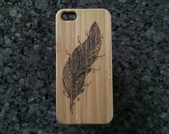 Feather iPhone 5C Case. Bird Feather Symbol for Truth, Speed, Air, Wind Flight Ascension Fly Free Spirited. Bamboo Wood Cover. iMakeTheCase