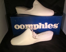 Vintage OOmphies Granada Classic Snow White Leather Slippers/ Shoes (1980s) Size 9 (New Old Stock