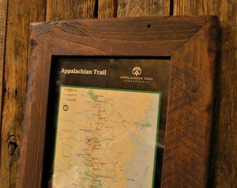 Custom Reclaimed Wood Framed Appalachian Trail Map Print