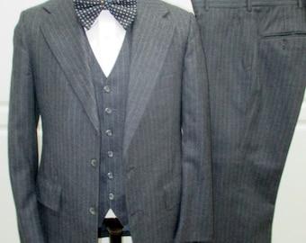 1970's 3 piece Suit, Gray pin stripe suit, Mid Century Suit, Mad Men Suit,  Anchorman, Vintage business suit, Grey suit, 3 piece suit