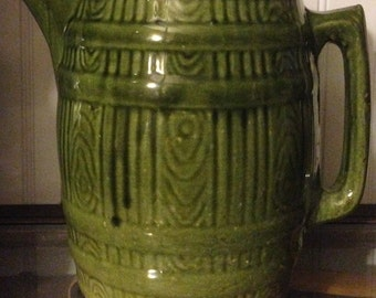 Vintage Green Barrel Pottery Pitcher Mint