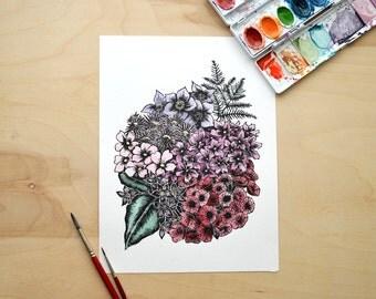 Watercolor Linocut Flower Print