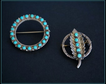 Lot of 2 Vintage Sterling Silver TURQUOISE PINS -  Native American Jewelry