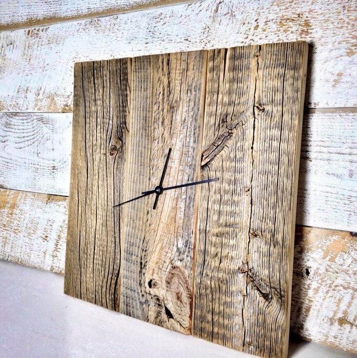 🔎zoom - Modern Rustic Clock Barn Wood Wall Clock Large Wood Clock