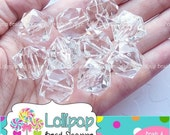 SALE CLEAR CUBE Beads 20mm Beads Chunky Beads Faceted Beads White Square Beads Acrylic Beads 10-ct Lucite Bubblegum Beads Bubble Gum Beads