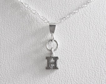 Initial Letter H Mini Pendant Charm and Necklace