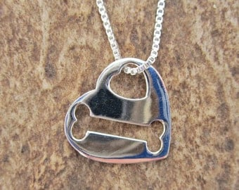 Heart and Bone Cut-Out Sterling Silver Necklace