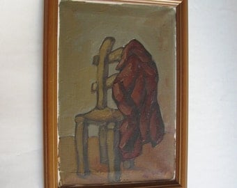 vintage original painting, coat and chair, framed