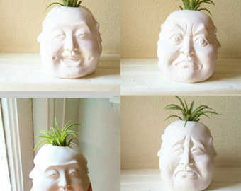 Buddha planter, Four faces of Buddha, air plant holder, Buddha candle holder