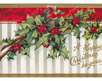 Holly Stripes Christmas Postcard, 1909