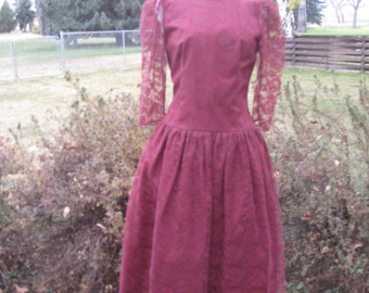 Vintage 1970s Wine/Burgandy/Maroon Womens Taffeta And Lace Special Occasion/ Bridesmaid/Mother Of Bride Dress Size S /July 4 Bridal