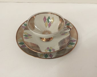 VintageTea Cup Trio Art Deco/Atomic Design ~ Tea Cup, Saucer and Luncheon Plate ~Winterling Marktleuthan Bavaria~ Bridal Tea Cup Trio