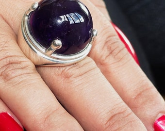 Futuristic Gemstone Ring with a huge purple Amethyst (62ct) Sterling Silver 925 size 9 (GR103)