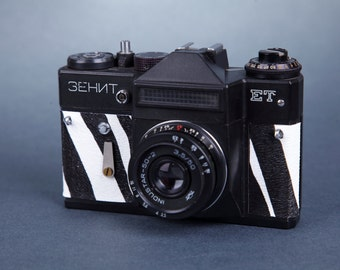 Vintage Camera Zenit-ET.SLR Film Camera. Working.Replaced body cover.