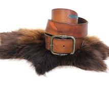 Vintage Lee Leather Belt - 70s Lee Southwestern Hand Tooled Mushroom Butterfly Leather Belt - 70s Boho Hippie Wide Leather Belt Size 30/32