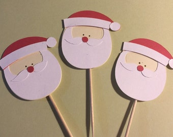 Christmas Cupcake toppers 12 Santa Toppers - Food Picks, Christmas party, Party decor, Table decor, Dessert Table, Class party,