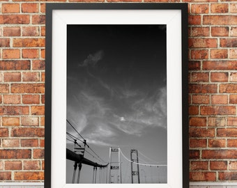 Tacoma Narrows Bridge, Architecture, Pacific Northwest, Black and White Photography, Print, Puget Sound, Gig Harbor, // Frame NOT INCLUDED