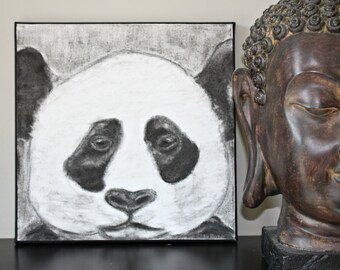 Panda, illustration in charcoal on canvas