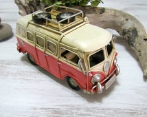VW Pink Camper Van -Vintage Design - Mini Tin Volkswagen Toy -Picture Frame -Moneybox
