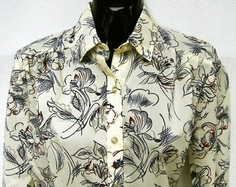 Vintage Abstract Floral Secretary Blouse Top Disco Shirt Womens Polyester Disco Top M Med 8 70s 80s