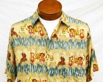 Vtg Hula Girls Rayon Hawaiian Shirt Mens Campia Moda Aloha Pinup Girls Distressed M