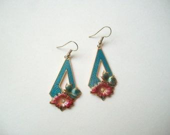 Cloisonne earrings, turquoise cloisonne, cloisonne flower, retro cloisonne, Chinese cloisonne, enamel earrings, turquoise enamel, floral