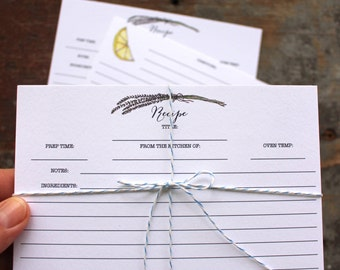 Watercolor Recipe Cards - Set of 10 Recipe Cards - Rosemary - Lemon - Cooking Kitchen Recipe Cards