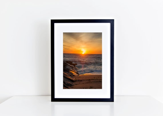 Orange Waters //  sunrise, plum island, beach photography, golden ocean waves, wall art, home decor, coastal, seashore