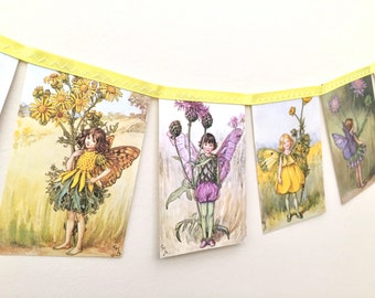 Vintage Flower Fairies Bunting Banner - Wedding Childrens Bedroom Nursery Decor Party Decoration