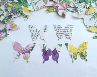 Vintage Book Page Floral Butterfly Confetti - for Wedding Party Baby Shower