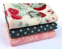 Aubrey Rose Fat Quarter bundle - fabric bundle, Christmas rose, floral fabric, girl fabric, romantic, shabby chic, Clothworks, Lecien, dot