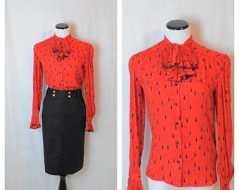 Vintage Red Black Career Blouse /80's Silk Geometric Blouse/Small