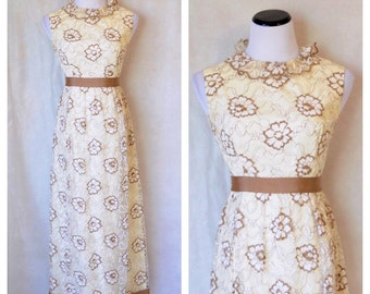 Vintage Lace Gown/ 70's ivory Dress
