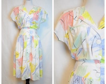 80's Abstract Dress/Vintage Shift dress