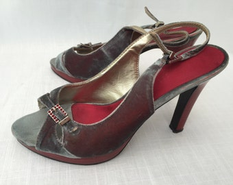 SALE! Nine West Vintage Silver Grey Velvet & Maroon Platform High Heels Women's High Heel Shoes