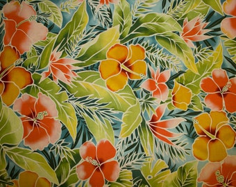 """Flowers Leaves Print #43 100% Cotton Quilting Fabric Fabri-Quilt Designer Print 45"""" Wide By The Half Yard"""