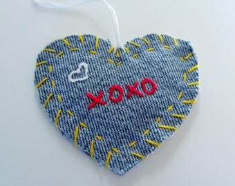 Recycled Denim Embroidered Heart Ornament, XOXO, Hang Tag, Gift Tag or Applique