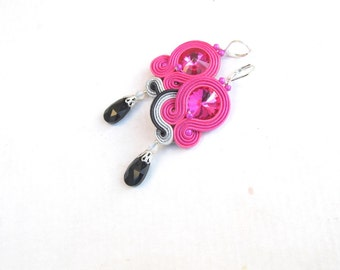 Elegant Drop Earrings Dangle Pink Gray Earrings Soutache Jewelry Gray Pink with Crystals