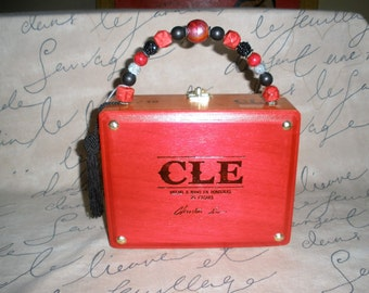 Red CLE Cigar Box Purse, Wooden, Zebra Lined, Cross Body,Authentic, Tampa # 688