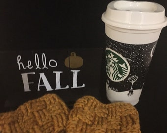 Teacher Gift--Basketweave Coffee Cup Sleeves Custom (Set of Two or Four)