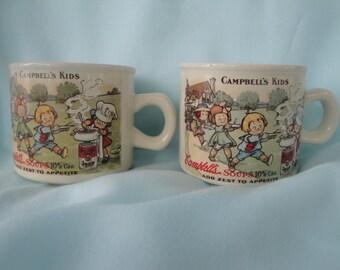 2 Campbell's Soup Kids 1910 Replica Mugs/2 Campbell's Soup Mugs