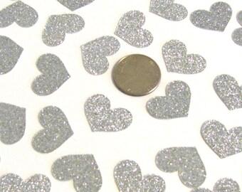 Silver Glitter Heart Confetti, Silver Hearts, Glitter Hearts, Heart Confetti, Bachelorette Party, Anniversary Party, Bridal Shower, Diecuts