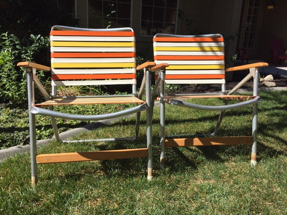 Pair Of Vintage Aluminum Folding Lawn Chairs With Wood Arms