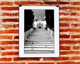 Mexican Black and White Street Photography, Church Photography, Mexico Digital Download, Printable Photograph, Black and White Print