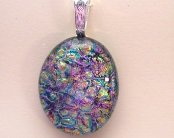 Rainbow Pebble over Pink Fused Dichroic Glass Necklace and Earring Set - Fin143