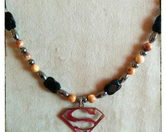 SUPERMAN necklace for man with hematites