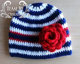 Girls Nautical Crochet Hat_Nautical Beanie_Winter Girls Nautical Hat