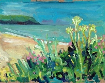 Wildflowers and Headland. 7'' x 5'' Art Greetings Card. Quality printed card, blank inside.