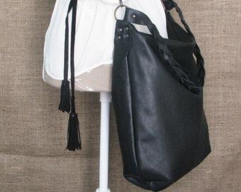 Handmade black leather hobo bag